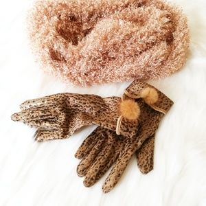 Infinity scarf and Glove set Plush Winter gear